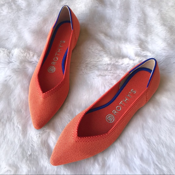 cf28fb9eb1886 Rothy's Shoes | New Rothys The Point Persimmon Orange Flats | Poshmark